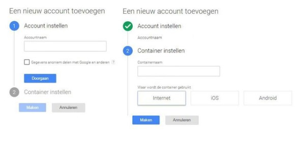 Google Tag Manager aanmaken
