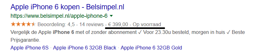 Prijs - stuctured data in google
